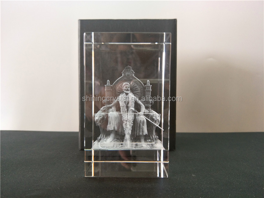 customized 3d laser engraving crystal block for souvenir gift