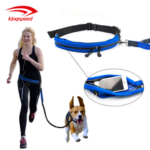 Adjustable Running Belt Pouch Fits Phones Dog Waste Bag Dual Handle Reflective Bungee Running Dog Leash