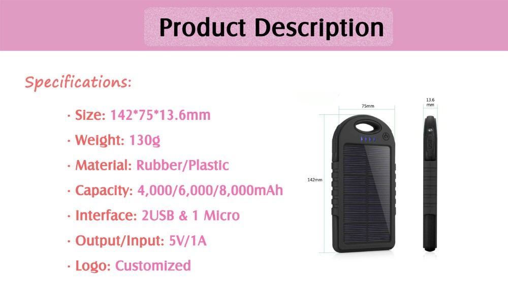 Solar Power Bank 4000mAh Portable Battery charger 6000mAh Customized logo