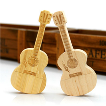 Best customized gift wooden usb flash drive wood guitar shape USB stick