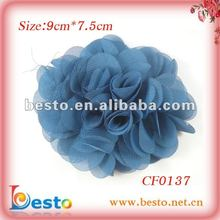 CF0137 Beautiful handmade blue large fabric flower for brooch 2012