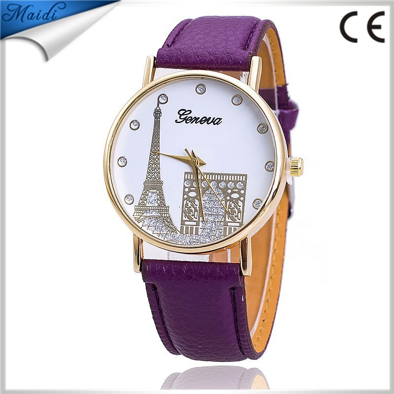 2016 HOT!!! Women Fashion Design Tower Design Dial Leather Band Analog Quartz Ladies Dress Wrist Watch 9 Colors GW029