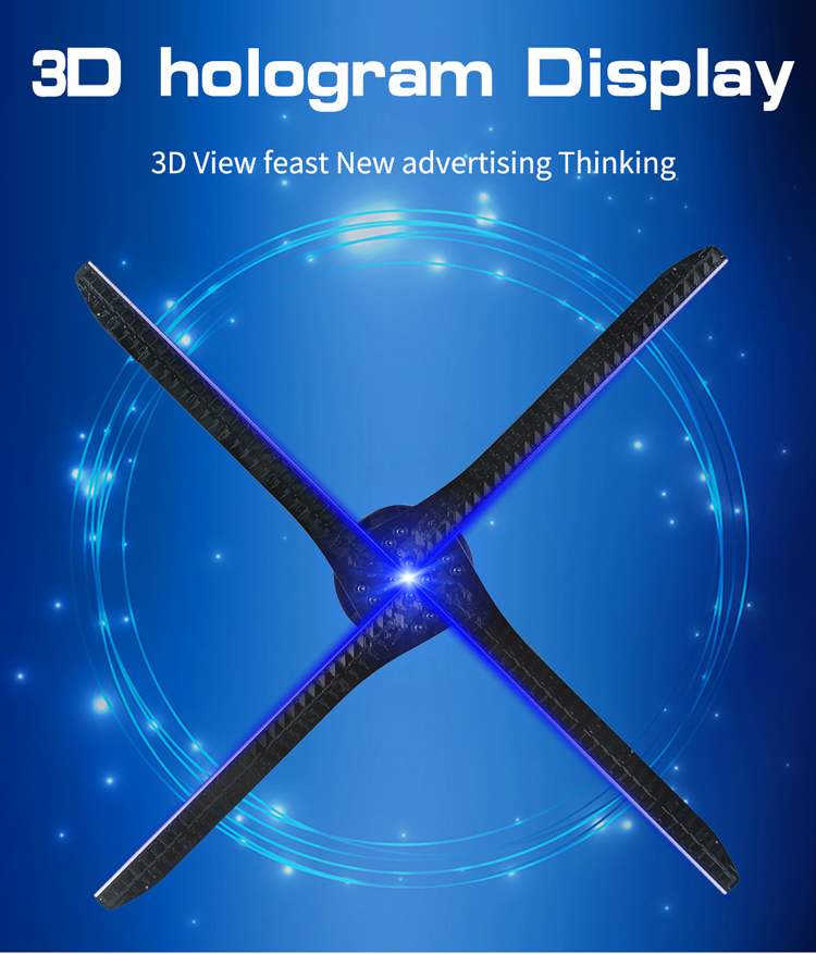 100 cm 3d hologram led display advertising fan 4 blades with wifi control