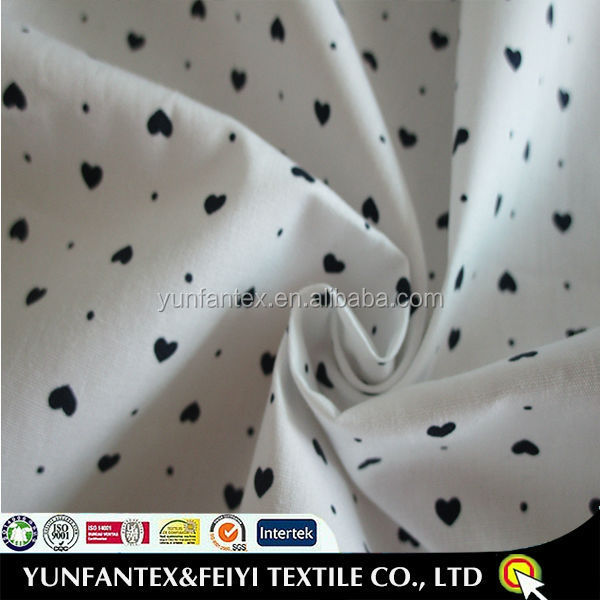 2015 fashion cotton Beautiful 100% Export Quality hearts printed fabric Traditional manufacturer mill