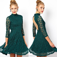 Green color long sleeve lace dress backless short women casual ladies high neck dress