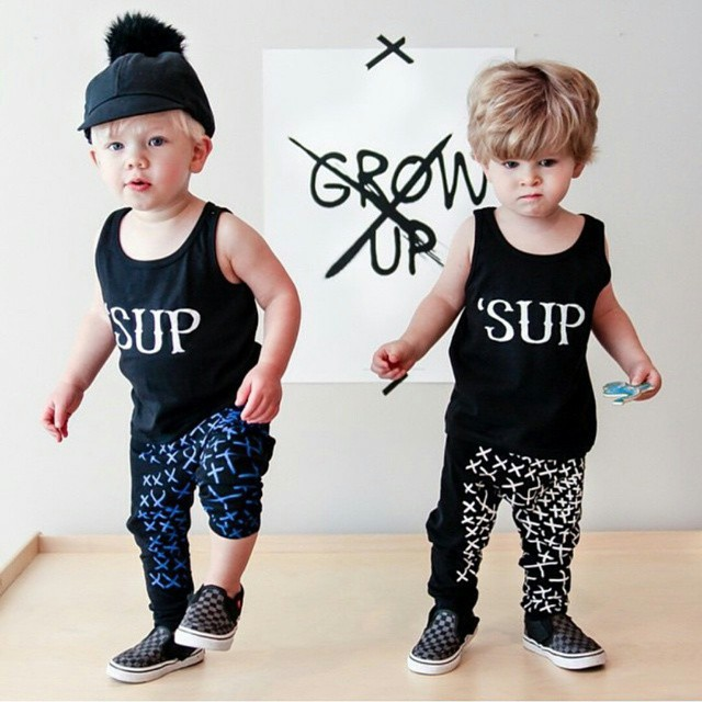 2 Piece Vest Suit Cotton Boy Kids Clothes Children Wear