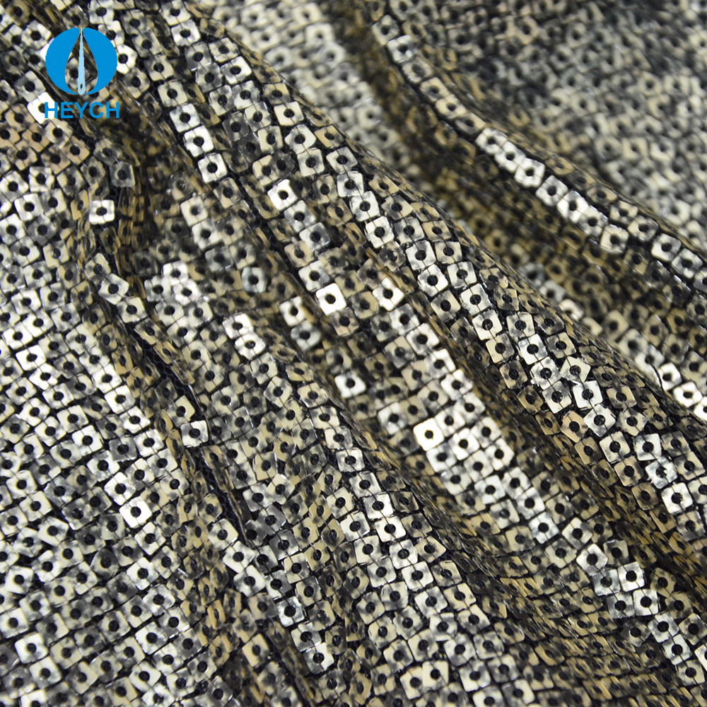 Stripe Line- up Organza Embroidery Lace Square Sequin Fabric