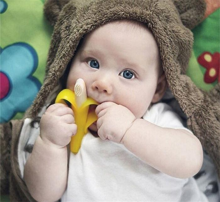 Toy style food grade silicone banana baby teether