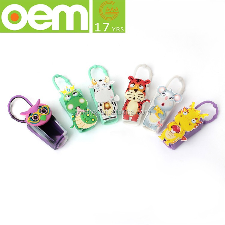 new multi style 3d animal shaped outdoor travel portable hanging silicone mini hand sanitizer holder