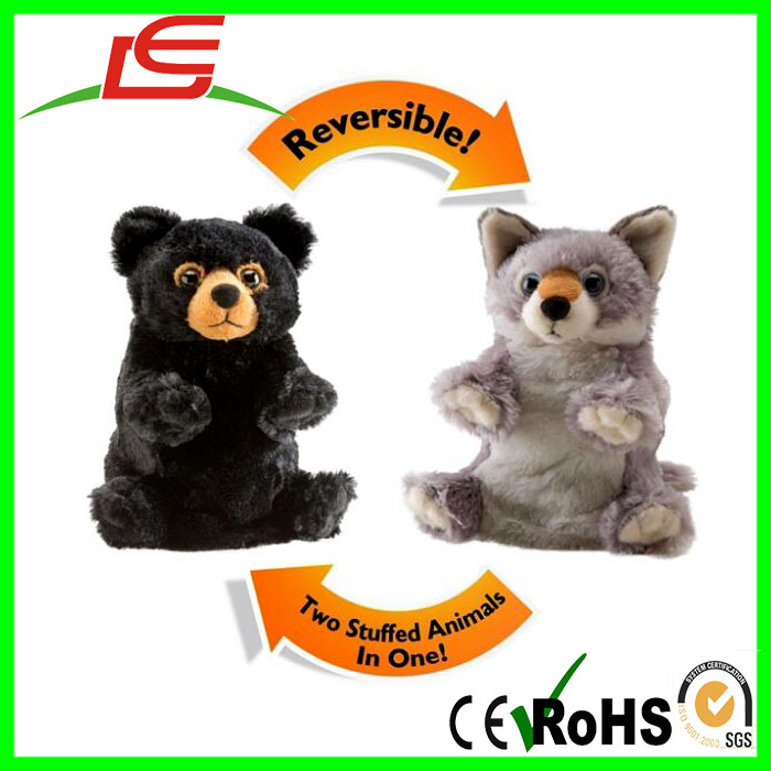 Wholesale Switch Reversible Soft Plush Black Bear and Wolf