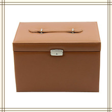 Large high quality multifunctional Leather Jewelry case with Mirror and four drawers
