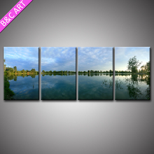 4 Panels Nature Lake Scenery Photo Prints Canvas Art Printing For Home Decor