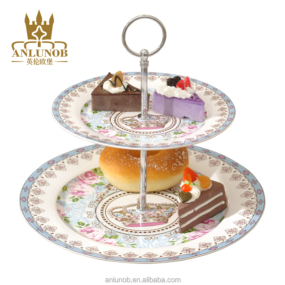 New product Gold Creative Cake Plate With Stand Ceramic wholesale Chaozhou