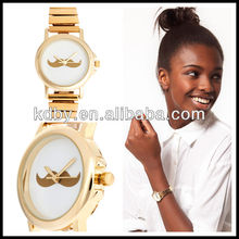 Metal Gold Bonjour Moustache Watch Thin Stretch Band Watch