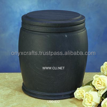 Jet Black Marble Cremation Funeral Urns in affordable price