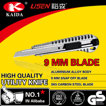 metal handle 9mm snap off blade utility cutter knife