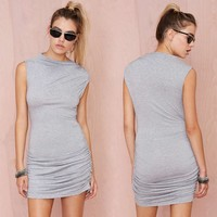 China supplier ruched dress grey high neck bodycon dress italy clothes wholesale
