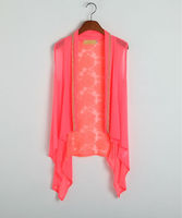 New fashion colorful chiffon with lace beach vest,breathable and cool summer vest.china manufacturer