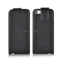 Handful vertical flip PU leather anti-scratch magnetic closure case for iPhone 5 or 5s