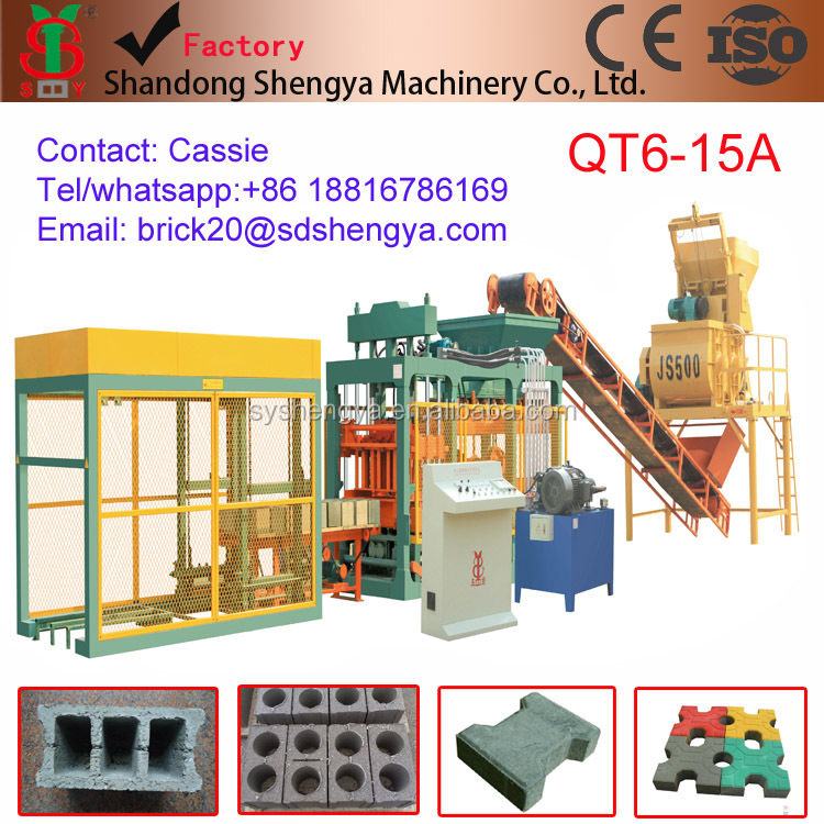 Shengya germany technology QT6-15a Automatically concrete,fly ash block making machines small scale industries in india images