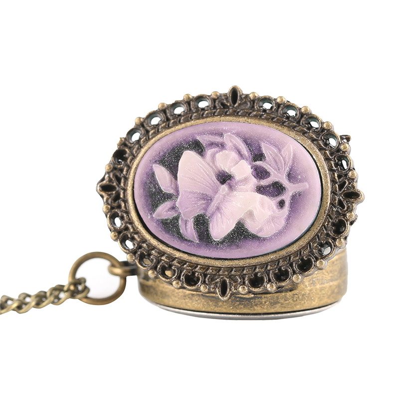 Retro Purple Flower Butterfly Pattern Mini Pocket Watch Women Lady Girl Necklace Pendant Watches Clock Birthday New Year Gifts (3)