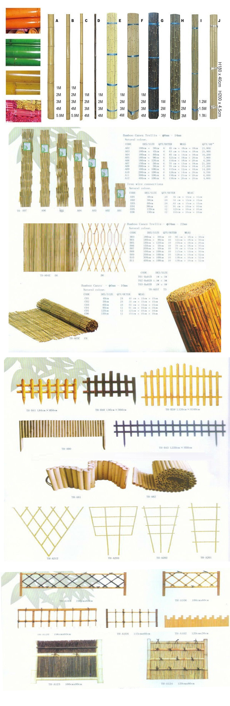 200*1200mm carbonized bamboo fence for livestock farm