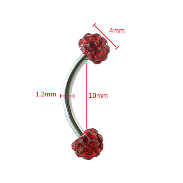 Wholesale women eyebrow jewelry stainless steel eyebrow ring with crystal ball