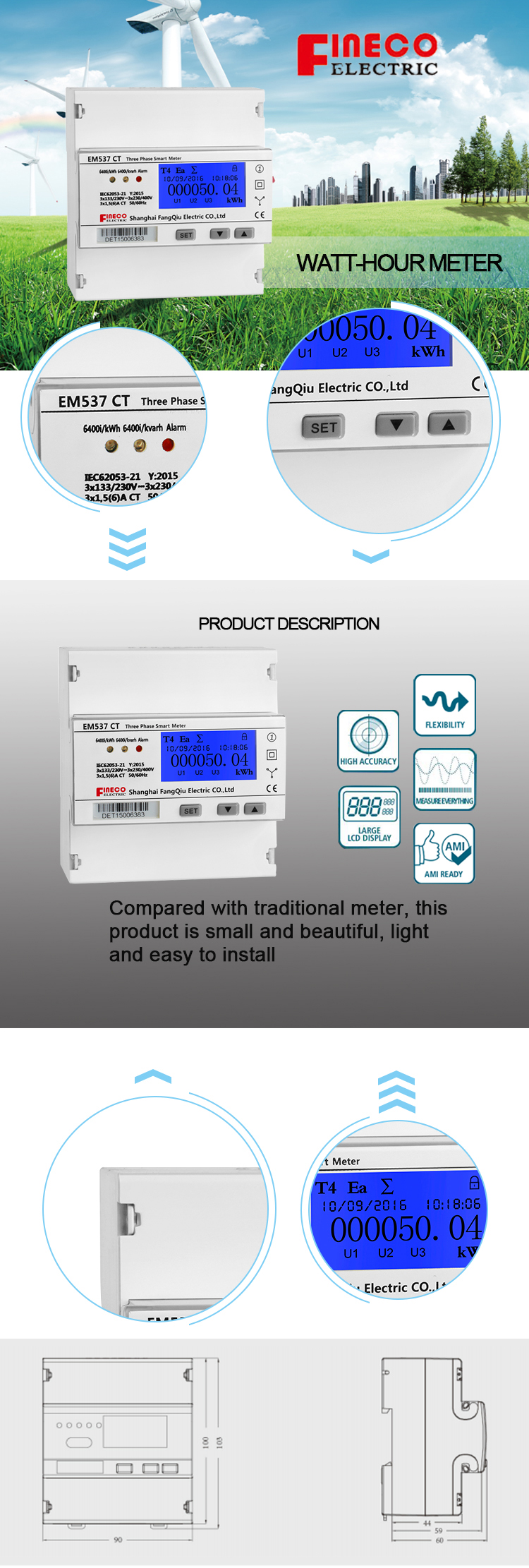 Optional single-phase model dc amp kwh meter panel mount