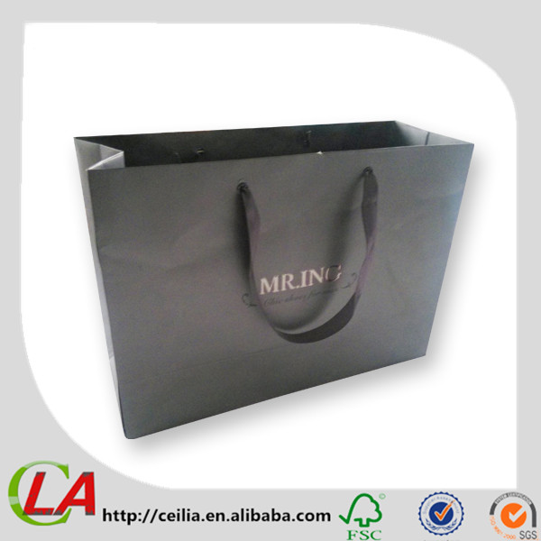 Matte Laminated Black Color Paper Bags With Ribbon Handles