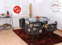 Flower design PU leather chair and tempered glass dining table