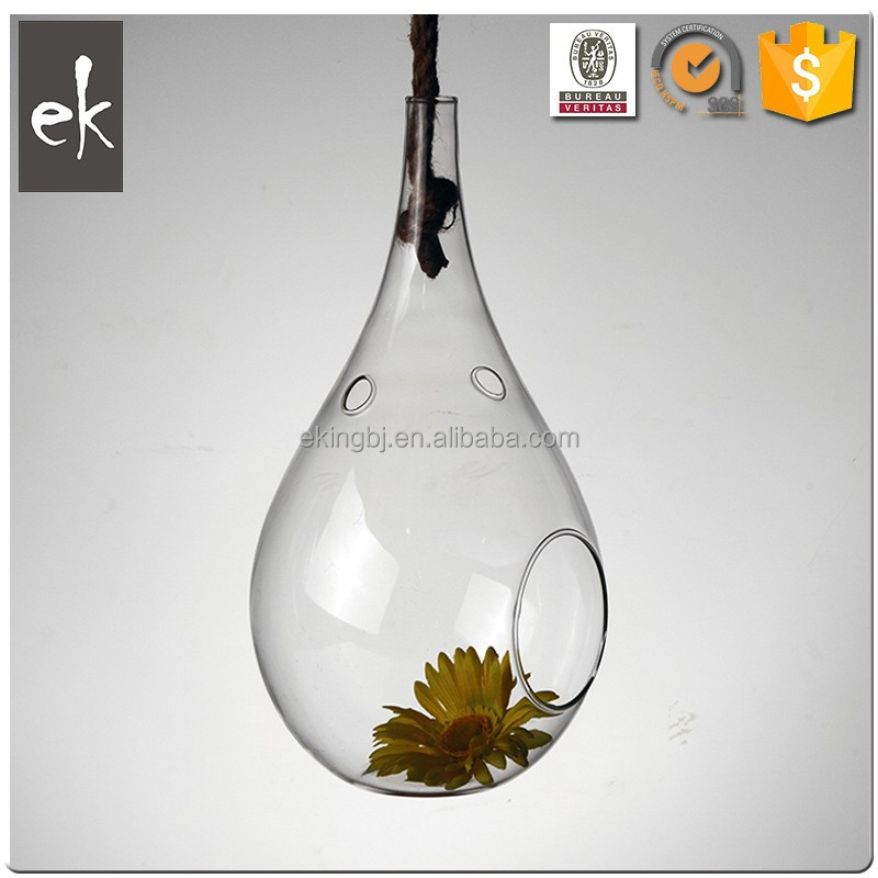 China Supplier Low Price Outdoor Flower Hanging Glass Vase