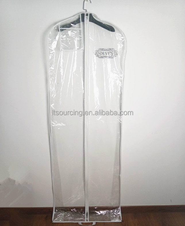 Plastic clear PVC and PE wedding dress cover bag/garment bag with gusset