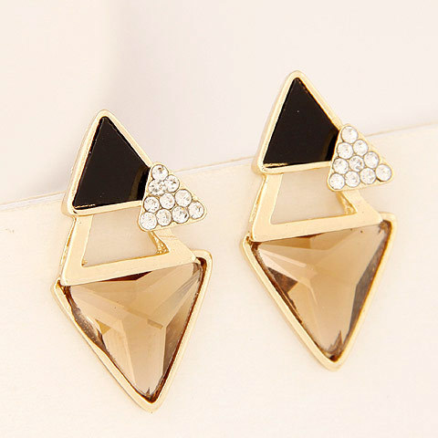 Designer Punk Style Geometric Triangle Fashion Costume Jewelry Accessories Glass Rhinestones Women Charm Statement Stud Earrings