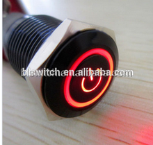 16mm Aluminium coated black LED illuminated Latching Push Button Switch with power symbol LED and RING LED