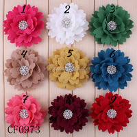 Circle Chiffon Fabric Flower With Rhinestone