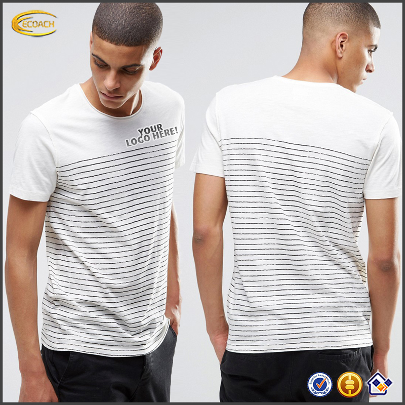 Ecoach 2016 Custom Logo Wholesale 100% Cotton Crew Neck Short Sleeve Stripe T Shirts For Men Las Camisetas