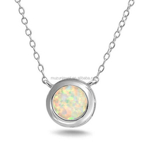 925 sterling Silver Synthetic White Opal Bezel Set Solitaire Necklace