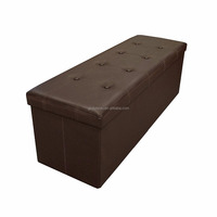 Button Design Memory foam Seat Folding Storage Ottoman Bench with Faux Leather, Brown