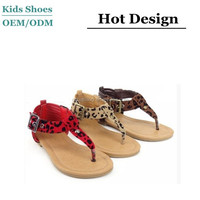 Kid's Cheetah Buckle Thong Flat Faux Suede Toddler Sandal Shoes