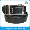 Beyond Men's Formal Black Second Layer Real Leather Ratchet Dress Belt with Slider Buckle