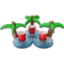 PVC inflatable coconut trees cup holder/ pool floating cup seat