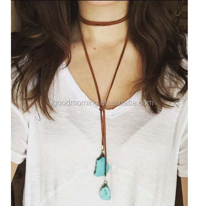 Double Wrap Leather Choker Bolo Tie Double Wrap Leather Lariat Necklace Turquoise Slab Stones Boho Style Bohemian Jewelry