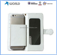 "universal flip leather case with mirror for mobile phone 4.5""-5.5"", universal mobile phone case"