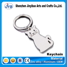 cute design custom laser engraving logo metal cat shape keychain