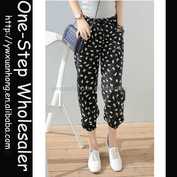 Latest design High quality fashion MOQ 1 pcs pattern harem pants