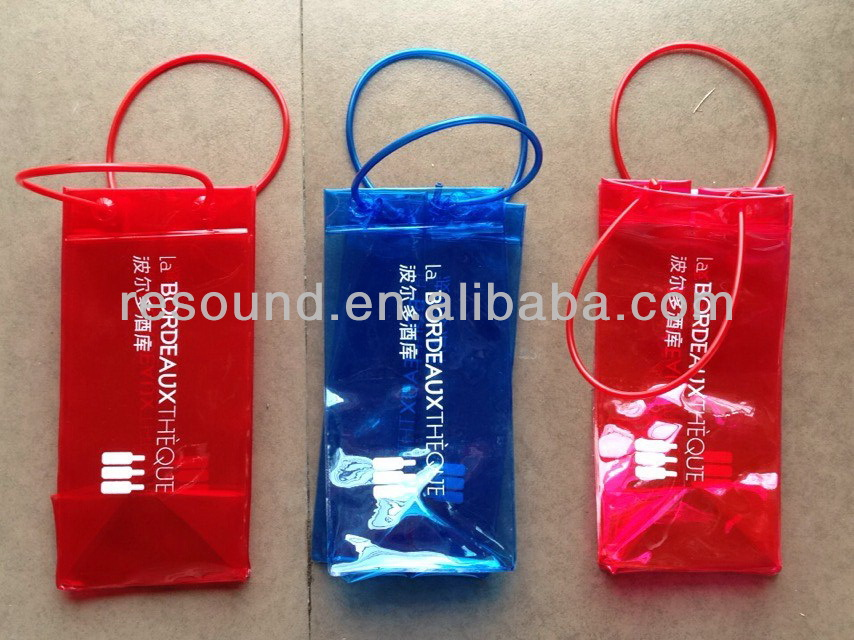 Red wine cooler plastic beer bottle cooler bag with drawstring handle