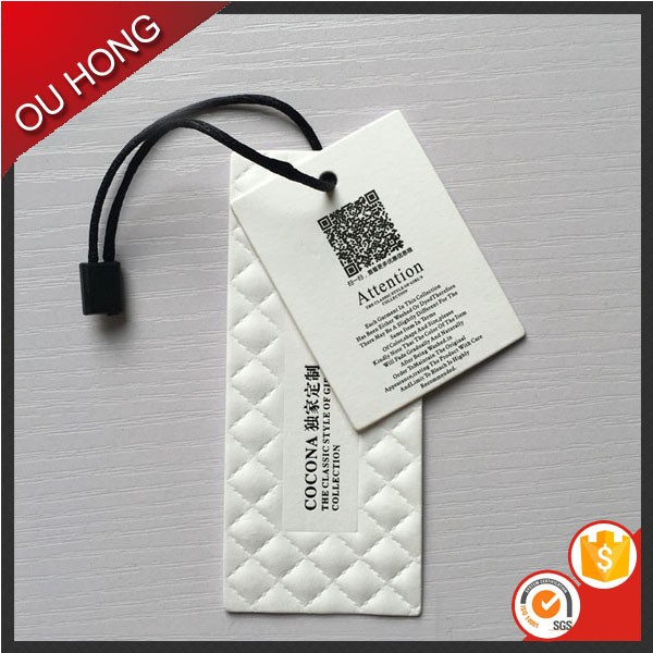 Holland White Card 700gsm Thick Embossed Garment Tags and Labels
