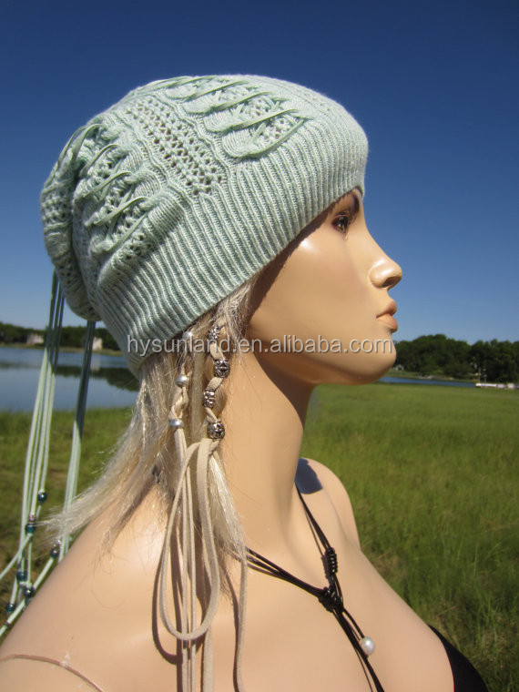Bohemian Clothing Accessories Cable Knit Slouchy Beanie Hat