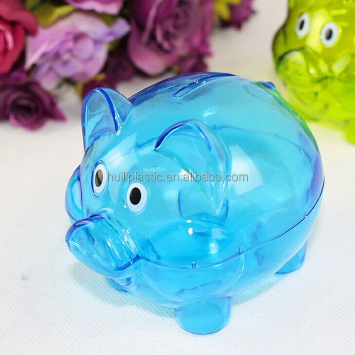 transparent pig coin bank, clear blue clear platic coin bank, translucent postbox clear glass coin bank