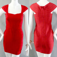 sexy vintage red cap sleeveless tight mother of the bride dress short